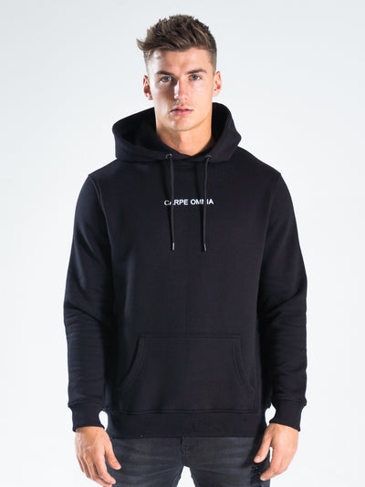 Black Embroidered Hoodie