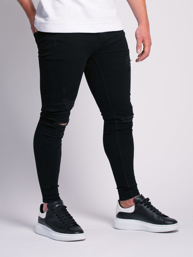 Black Ripped and Repaired Jeans
