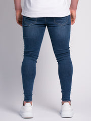 Blue Ripped and Repaired Jeans