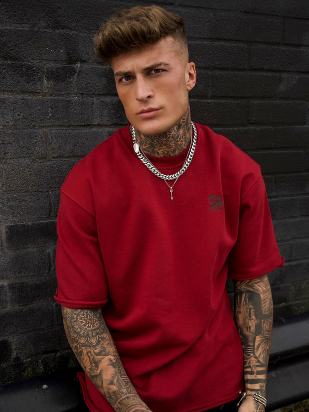 Burgundy Oversized Distressed T-Shirt