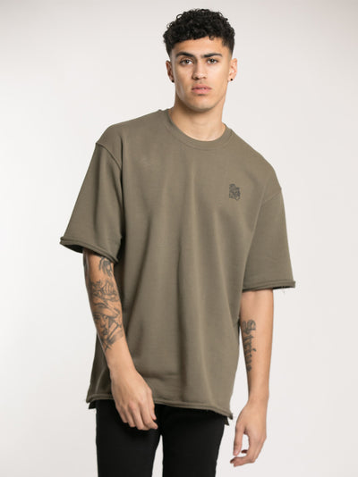 Khaki Oversized Distressed T-Shirt