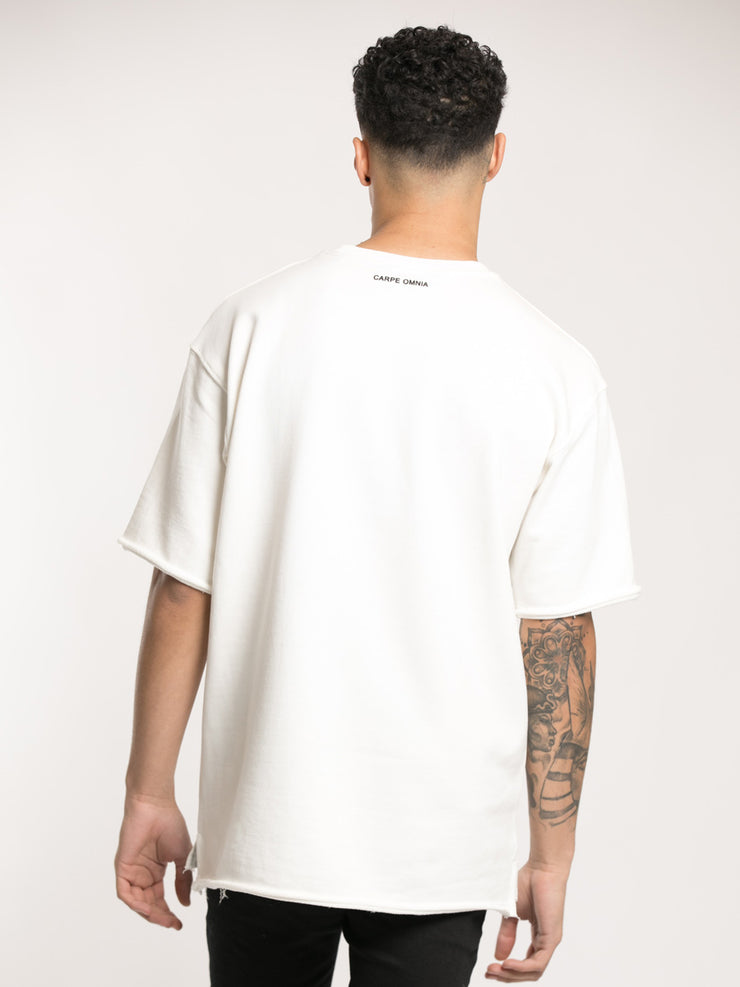 White Oversized Distressed T-Shirt