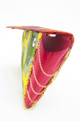 Red, yellow, green flat handbag, flat, enveloppe clutch, gold chains.