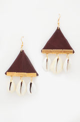 brown earrings. gold finish. cowrie shells