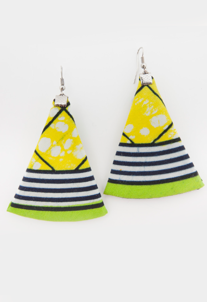 Yellow Navy Triangle Earrings