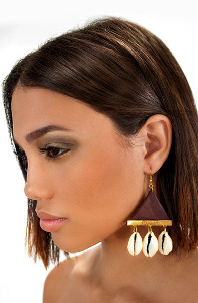 Brown Cowrie Triangle Earrings