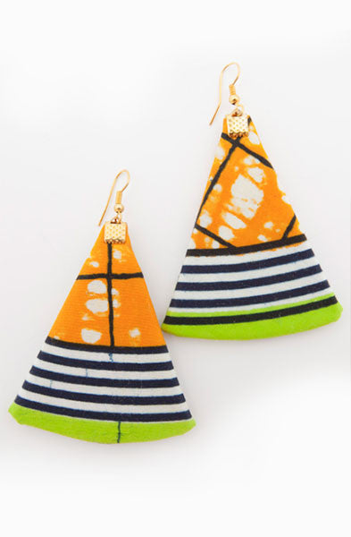 Orange Navy Triangle Earrings