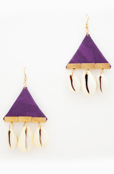 Purlple Cowrie Triangle Earrings