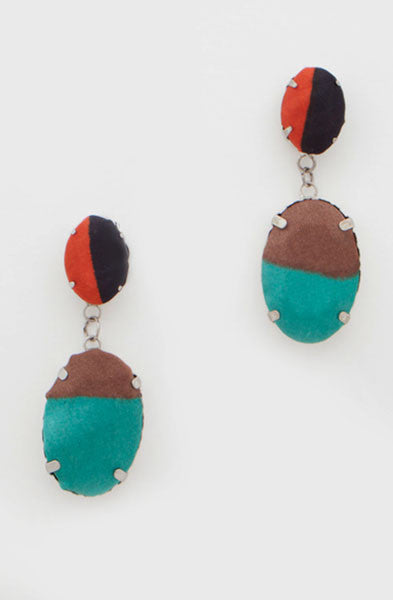 Turquoise Brown Gem Earrings