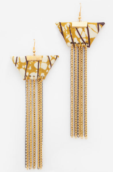 Beige Trapeze Earrings