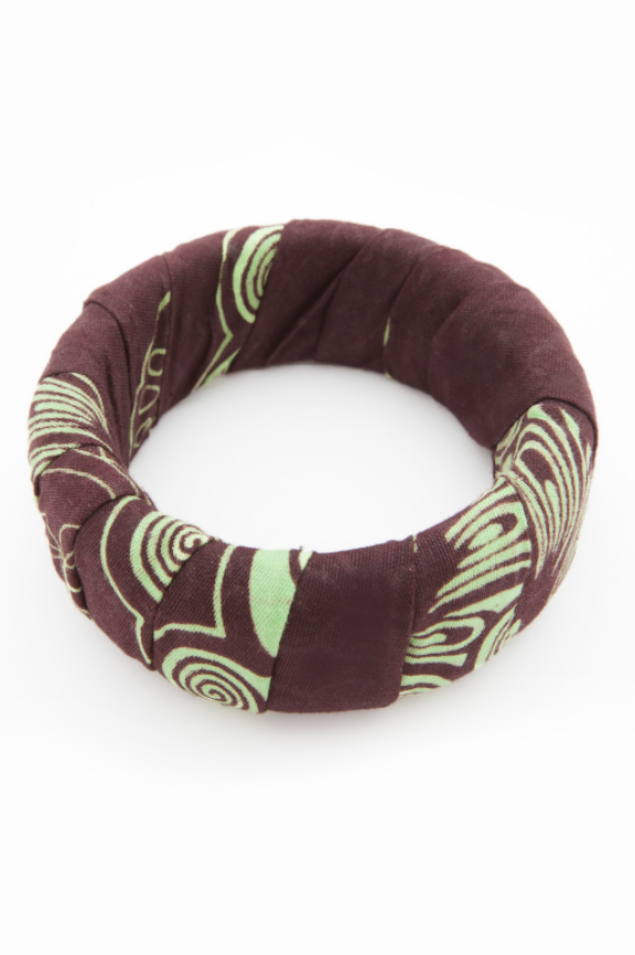 brown bangle. brown and green fabric. medium size