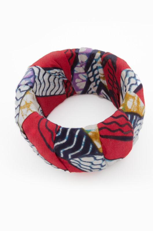 Red, white, blue fabric bangle.