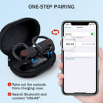 Over Ear Earhook True Wireless Earbuds with Charging Case, in-Ear Headphones Waterproof Sport Bluetooth 5.0 Earphones with 2 Mic/Volume Control, 10H Playtime, Noise canceling for Running/Workout/Gym