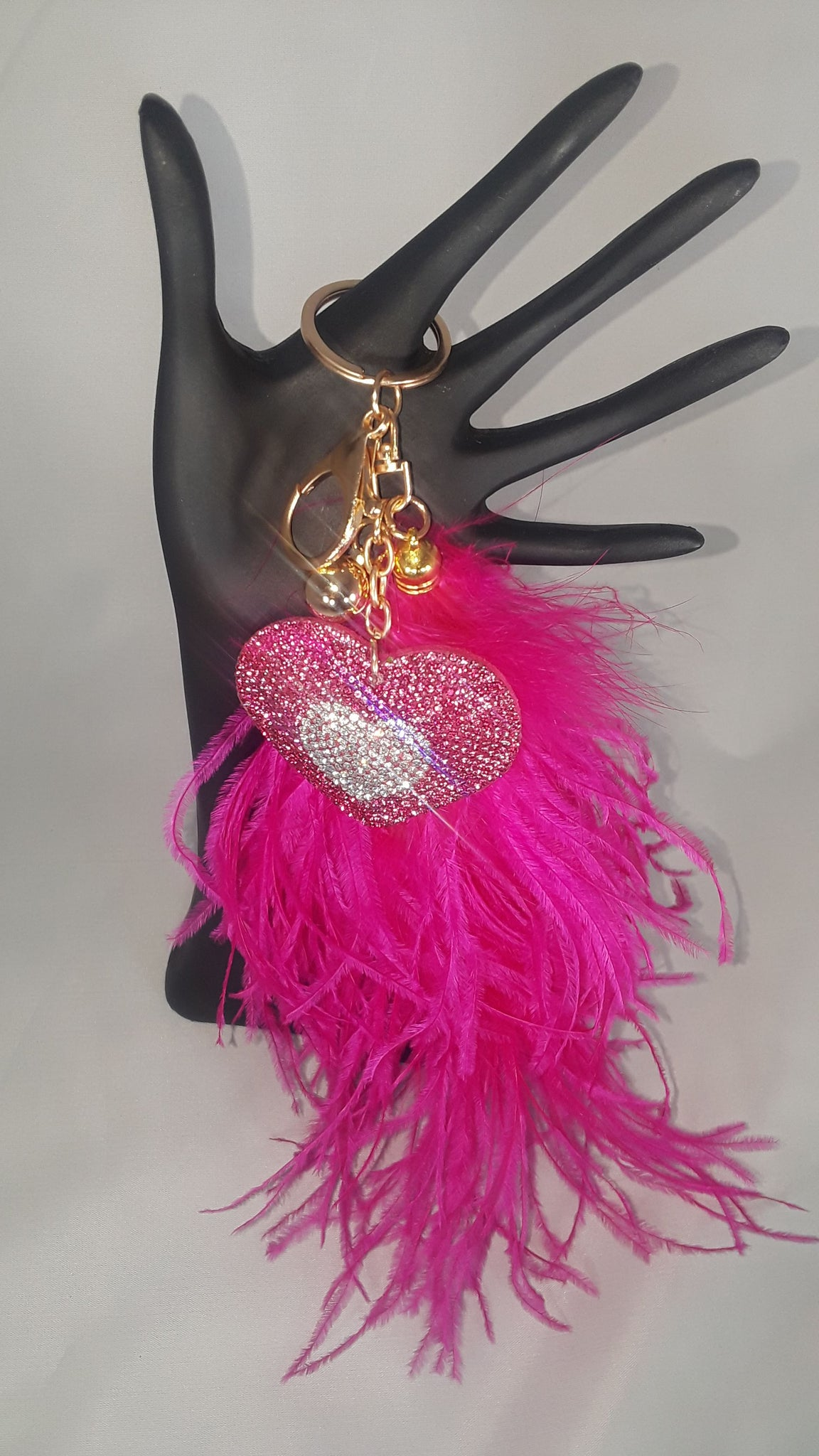 Crystal Heart Keychain w/ Ostrich Feather 'Tail'