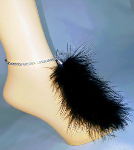 Rhinestone Stretch Anklet w/ Marabou Feather 'tail' Tassel