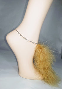 Fancy Rhinestone Anklet w/ Marabou Feather 'tail' Tassel