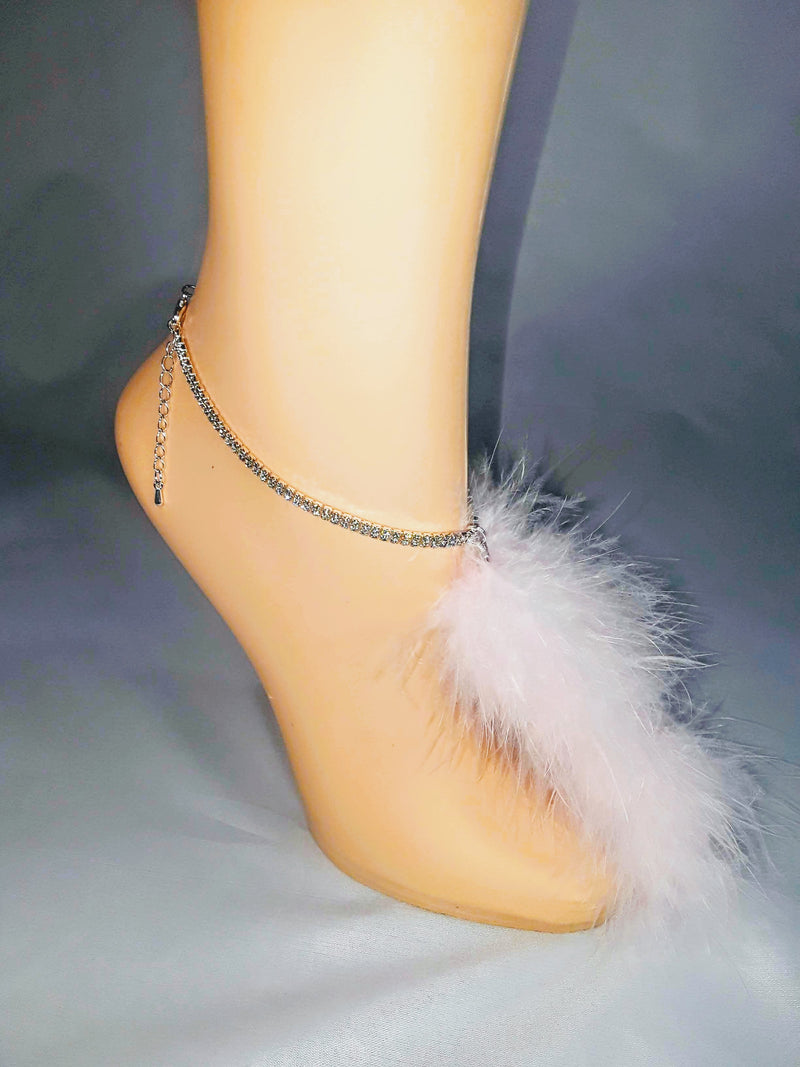 Double Row Rhinestone Anklet w/ Marabou Feather 'tail' Tassel