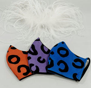 """Neon Cheetah"" printed face-mask with coordinating gloves"