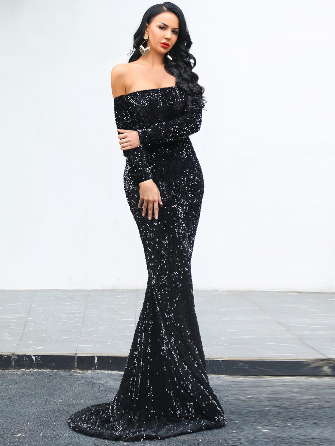 4 Colors Long Dress Fashion Off The Shoulder Shining Banquet Sexy Dress Wedding Celebrity Evening Party Dress XS-XL