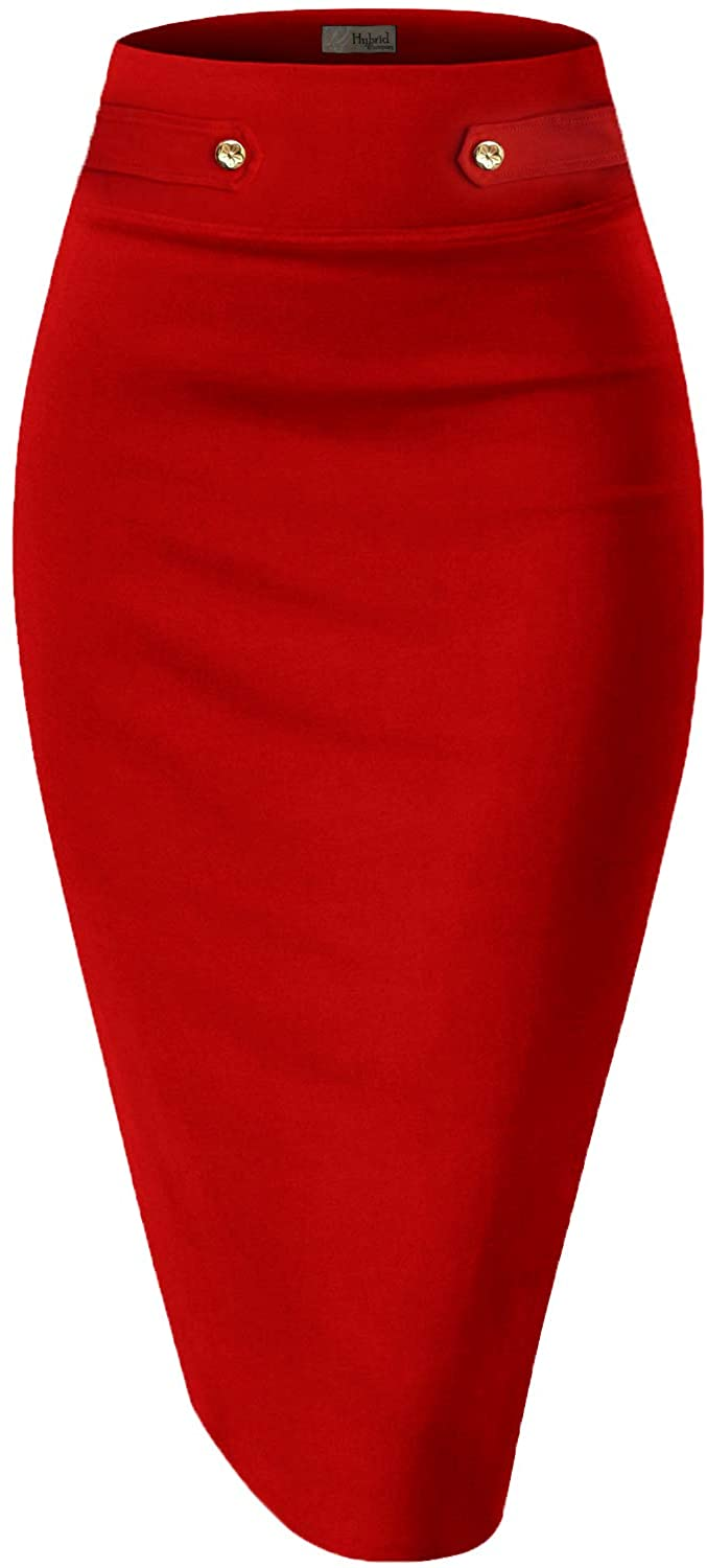 H&C Womens Premium Nylon Ponte Stretch Office Pencil Skirt Made Below Knee 1 2