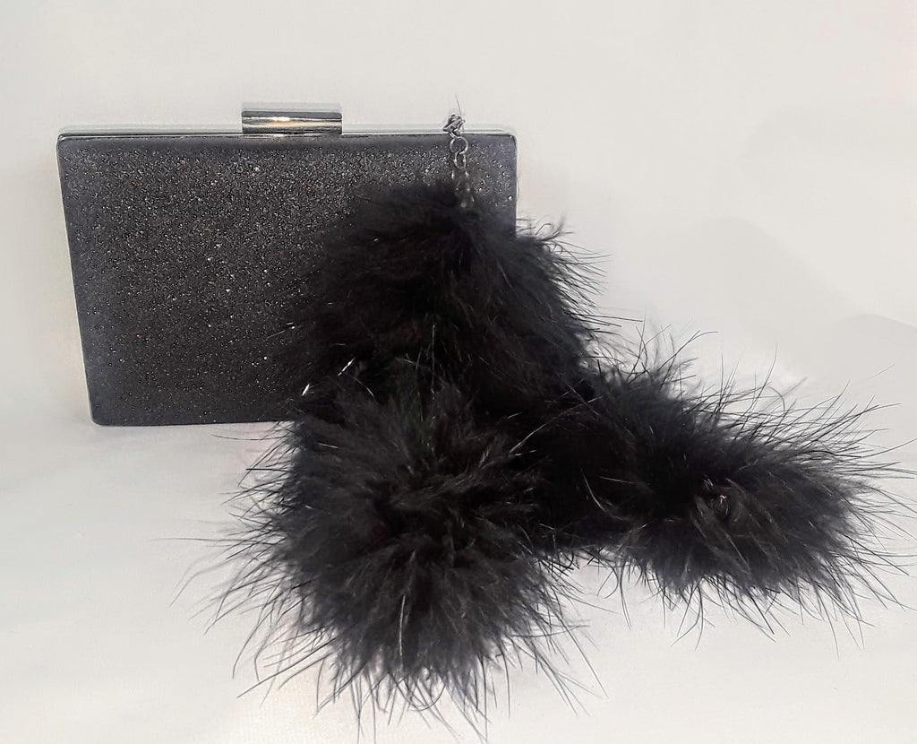 Black Shimmer Sq. Clutch w/ Marabou Feather 'Tail' Tassels
