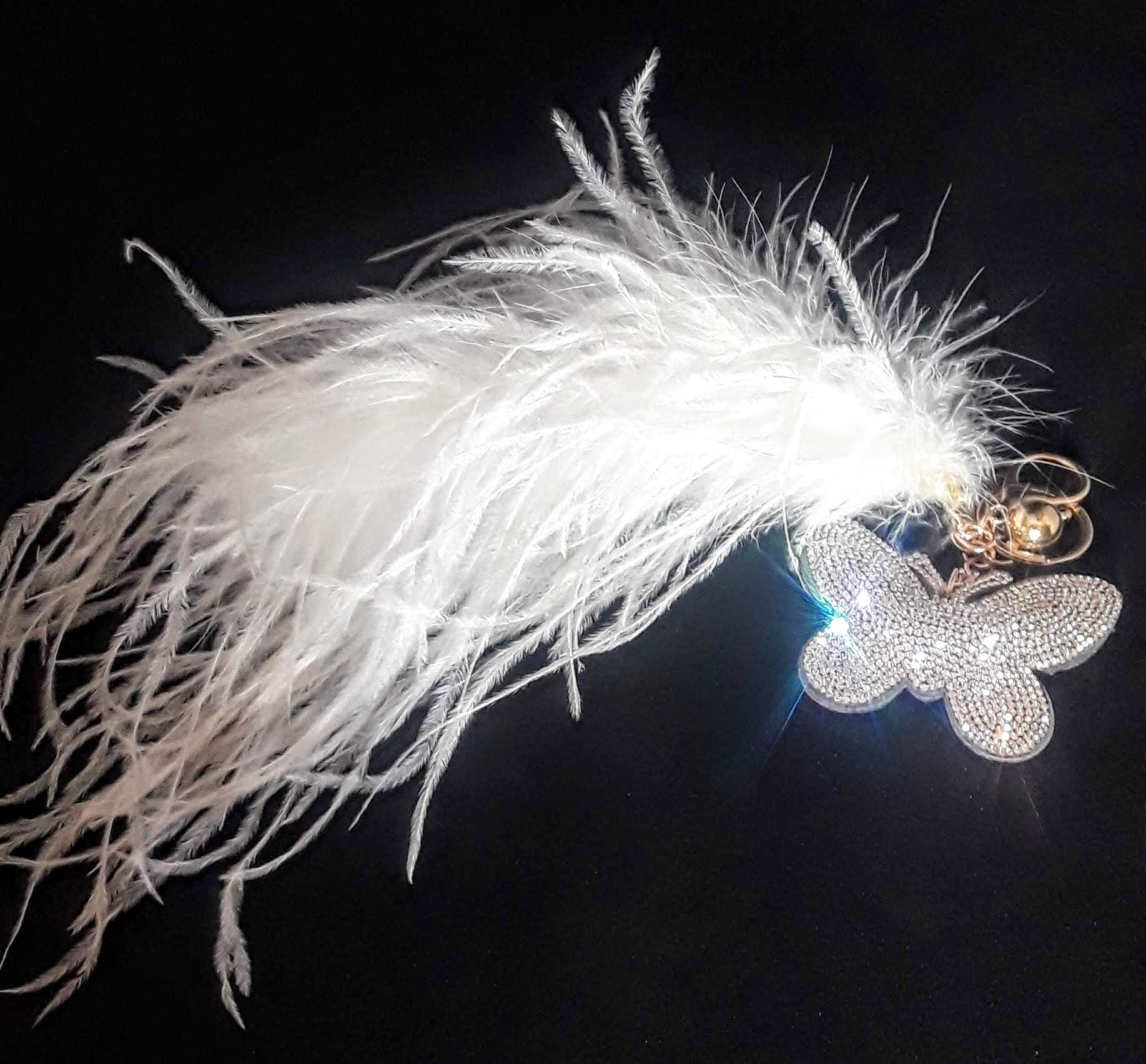 Crystal Butterfly Keychain w/ Ostrich Feather 'Tail'