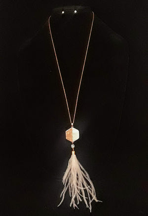 Hexagon Feather Pendant Necklace Set