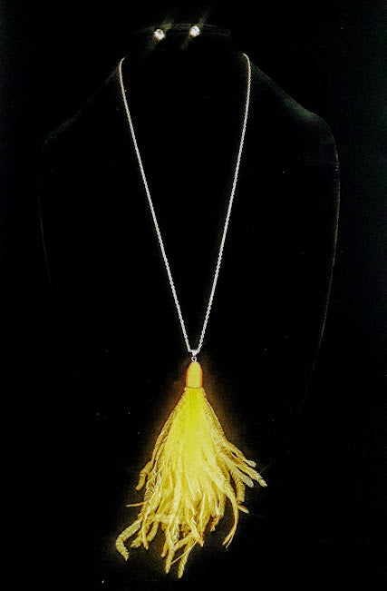 Ostrich Feather Tassel Pendant Necklace & Earrings Set