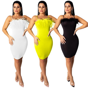 HAOYUAN Sexy Feather Mini Dress Women New Summer Stretch Clother Backless Spaghetti Strap Bodycon Dresses Night Club Party Dress