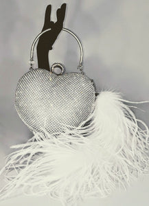 """Dazzle My Heart"" Rhinestone Purse w/ Ostrich Feather 'Tail'"