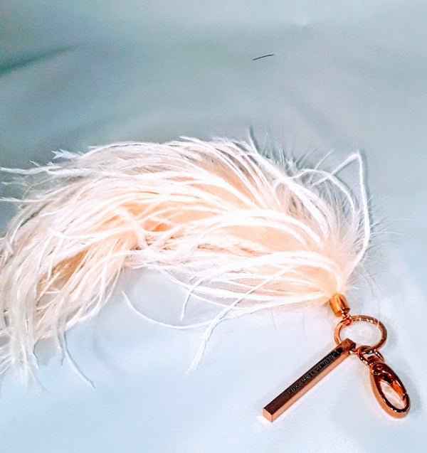"""Always Be My Mom"" Engraved Bar Keychain w/ Ostrich Feather 'Tail'"