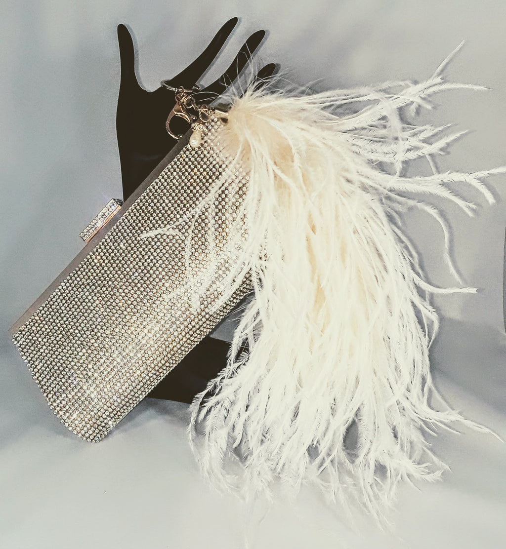 Crystal Rhinestone Clutch w/ Ostrich Feather 'tail' Keychain