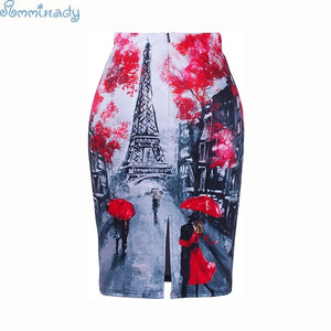 S-4XL Women pencil skirts Romantic Eiffel tower print western fasihon girl slim bottoms plus size bodycon free shipping