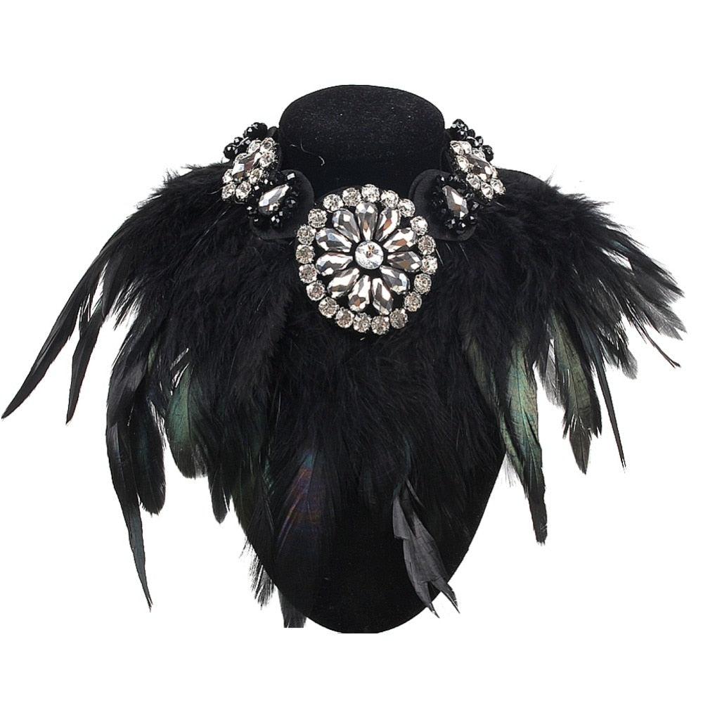 Feather & Crystal Pendant Statement Collar Necklaces