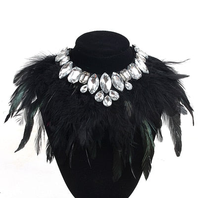 Crystal & Feather Statement Necklace Collar