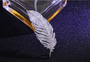 Cubic Zirconia Feather Micro Pave Brooch Pin