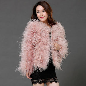 Ostrich Feather Long-sleeved Jacket