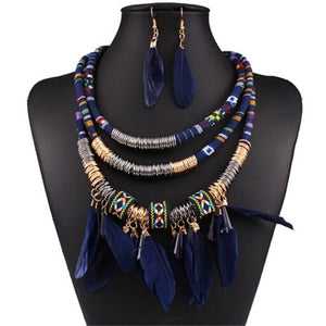 Red feather 3-layer african statement jewelry set