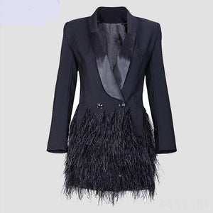 Tuxedo coat dress with ostrich feather hem