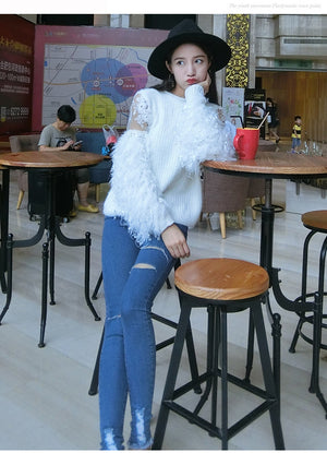 Romantic Sweater with Lace / Ostrich Feather Sleeves