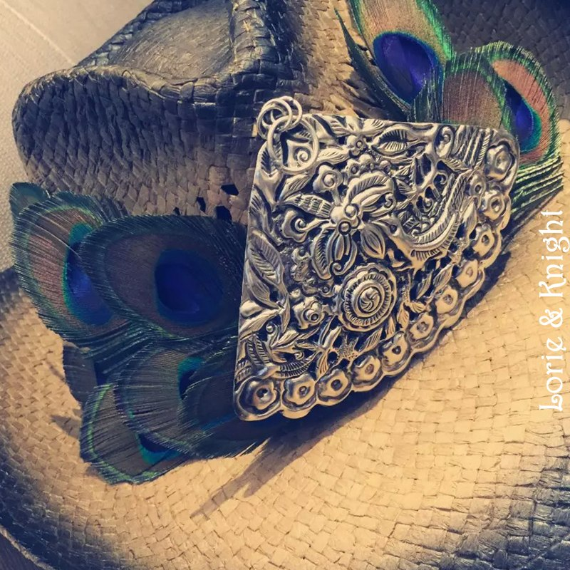 Handmade Peacock Feathes Cowboy Straw Hat with Silver Medallion