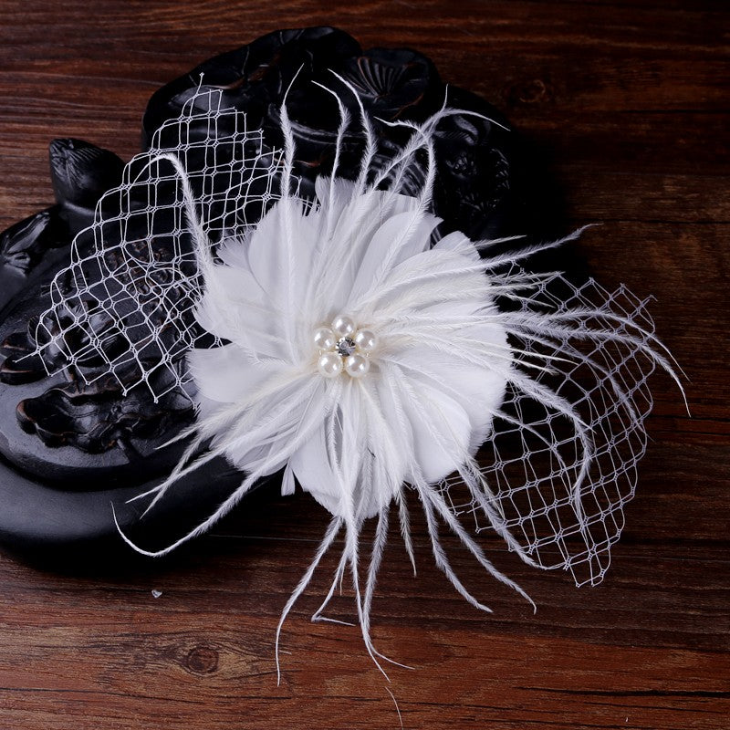 White Feather & Net Bow Hair piece