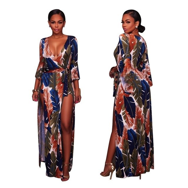 Feather Print Wrap Dress Romper