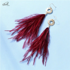 Long Feather Earring Ostrich Feather