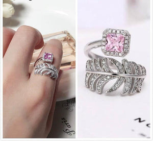 925 Sterling Silver Crystal Rhinestone Feather Rings