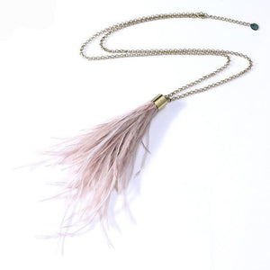 Pendant Ostrich Feather Tassel Pendant Chain Necklace
