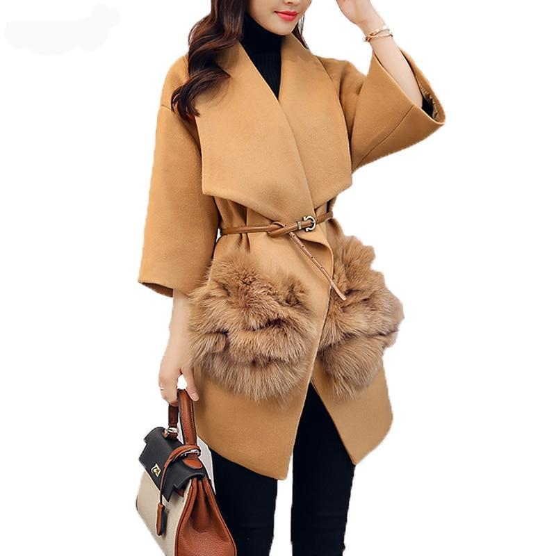 Marabou Feather Pockets Belted Tunic Wool Coat