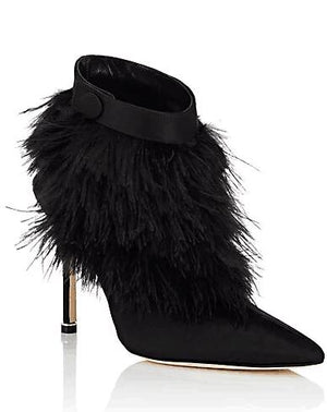 Open Back Black Satin Ankle Boots with Ostrich Feather Trim