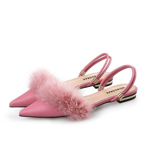 Pionted Toe Flats Slingback Ladies sandals with Marabou Feather Trim