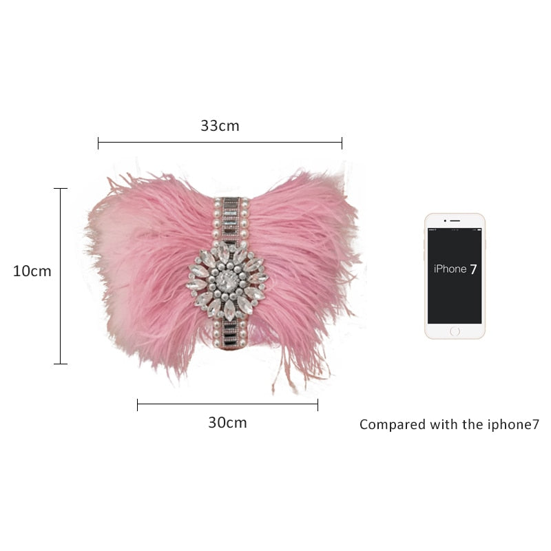 Pink Ostrich Feather & Crystals Dinner Clutch